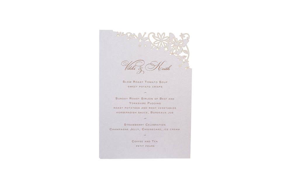 Chartula | Petite Fairytale Laser Cut Little Menu | Lavendula #FairytaleWedding #LaserCutMenu #LavenderWedding | www.chartula.co.uk