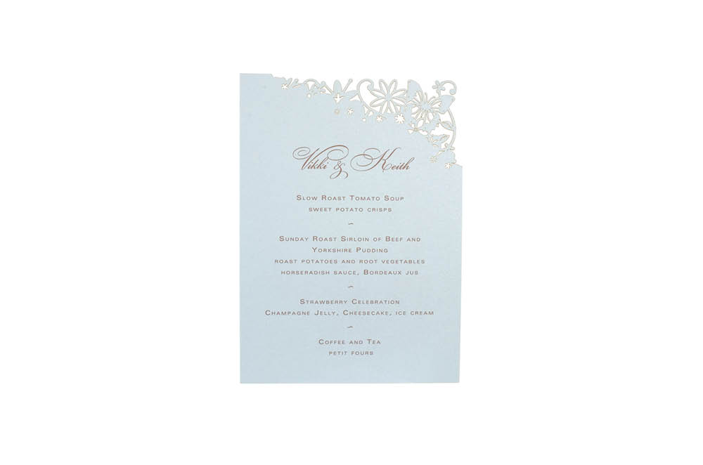 Chartula | Petite Fairytale Laser Cut Little Menu | Damask Blue #FairytaleWedding #LaserCutMenu #DuckEggWedding | www.chartula.co.uk