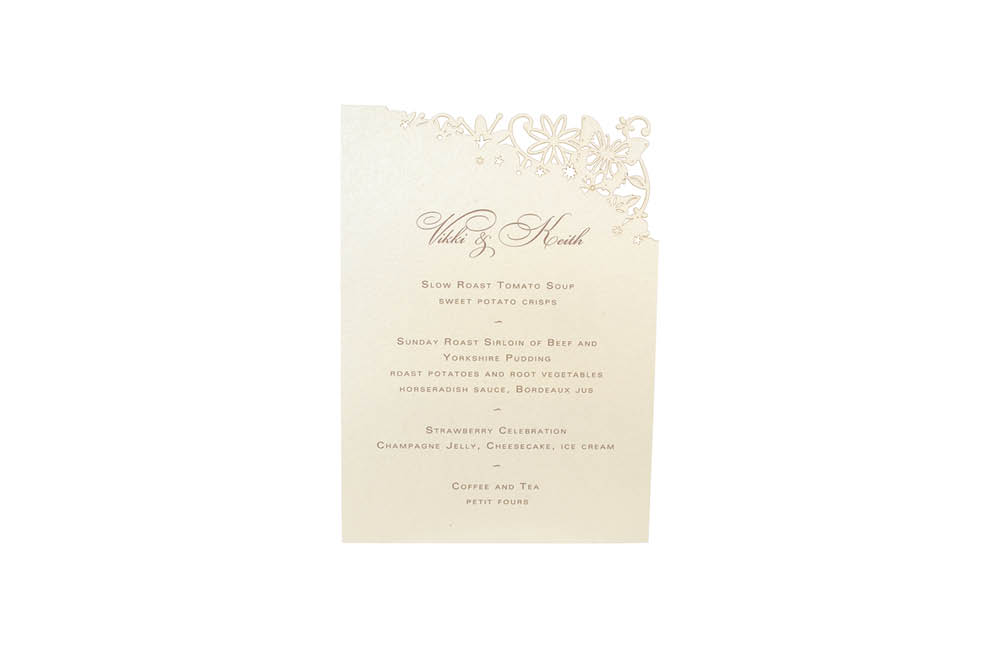 Chartula | Petite Fairytale Laser Cut Little Menu | Candlelight Cream #FairytaleWedding #LaserCutMenu #BohoWedding | www.chartula.co.uk