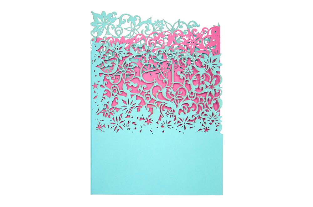 Chartula | Fleurette Bespoke Laser Cut Invitation | Turquoise & Fuchsia Pink #LuxuryWedding #LaserCutInvitation #TurquoiseInvites | www.chartula.co.uk