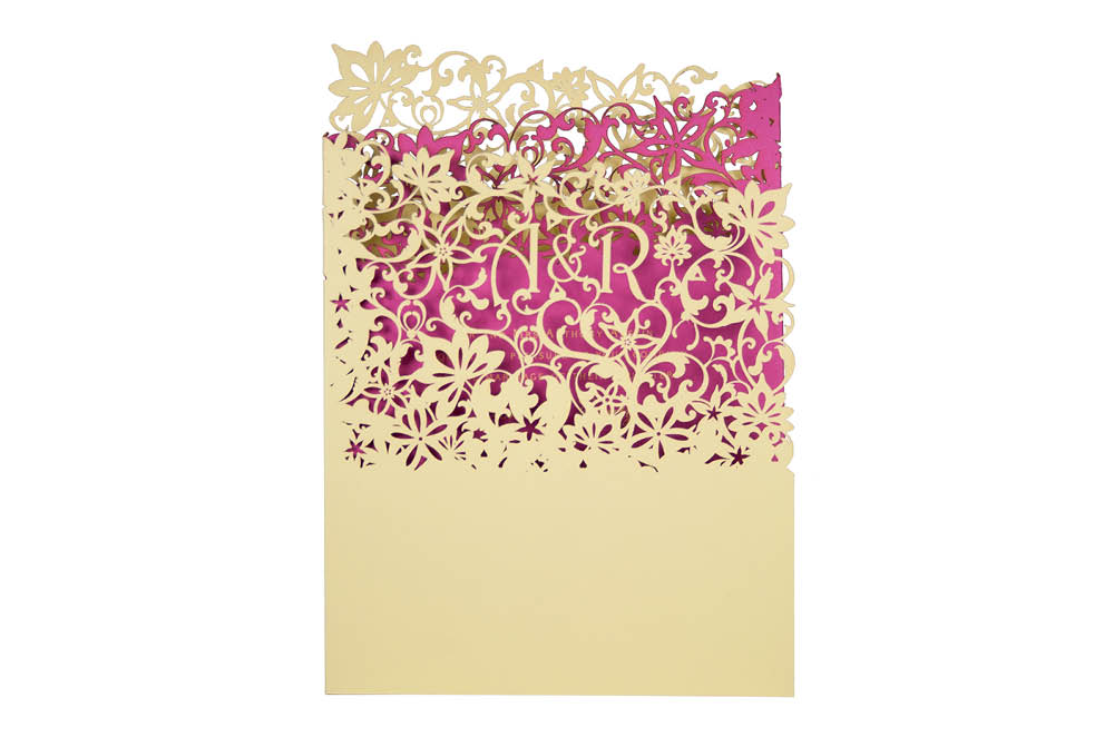 Chartula | Fleurette Bespoke Laser Cut Invitation | Sorbet Yellow & Fuchsia Pink #LuxuryWedding #LaserCutInvitation #BoldInvites | www.chartula.co.uk
