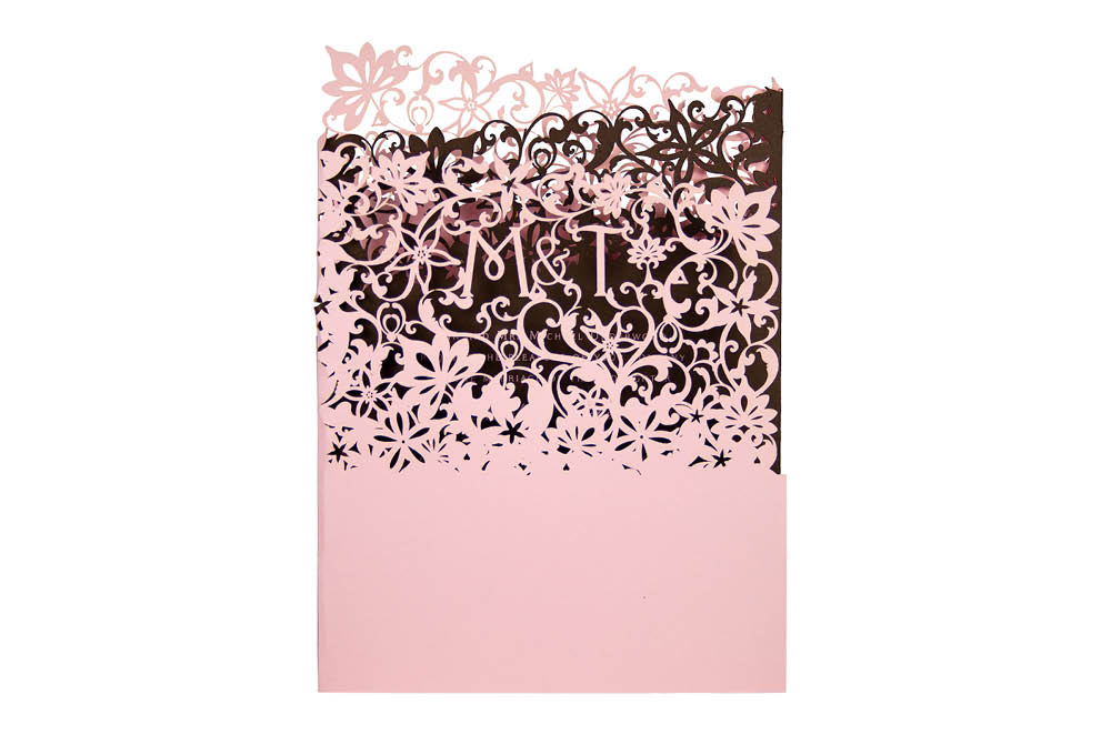 Chartula | Fleurette Bespoke Laser Cut Invitation | Candy Pink & Dark Chocolate #LuxuryWedding #LaserCutInvitation | www.chartula.co.uk
