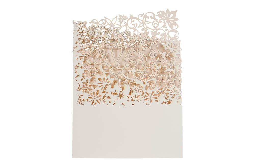 Chartula | Fleurette Bespoke Laser Cut Invitation | Natural & Vintage Peach #LuxuryWedding #LaserCutInvitation #VintageInvites | www.chartula.co.uk
