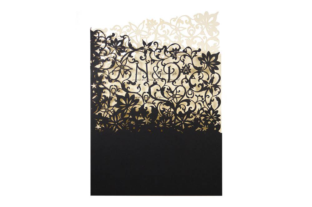 Chartula | Fleurette Bespoke Laser Cut Invitation | Ebony & Clotted Cream #LuxuryWedding #LaserCutInvitation #ElegantInvites | www.chartula.co.uk