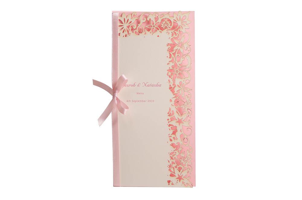 Chartula | Haute Fleurie Bespoke Laser Cut Menu | Candy Pink & Natural #LuxuryWedding #LaserCutMenu #PalePinkWedding | www.chartula.co.uk
