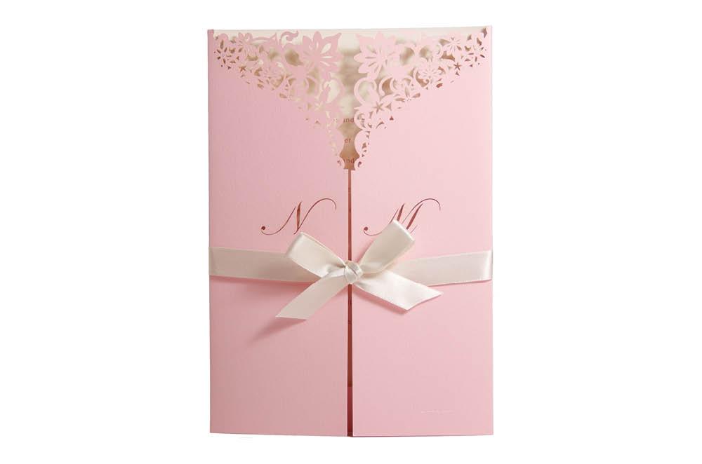 Chartula | Haute Fleurie Bespoke Laser Cut Invitation | Candy Pink & Natural #LuxuryWedding #LaserCutInvitation #PrettyInPink | www.chartula.co.uk