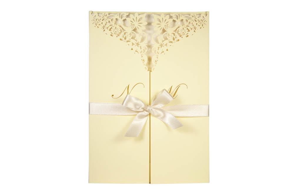 Chartula | Haute Fleurie Bespoke Laser Cut Invitation | Lemon Sorbet & Natural #LuxuryWedding #LaserCutInvitation #PastelWedding | www.chartula.co.uk