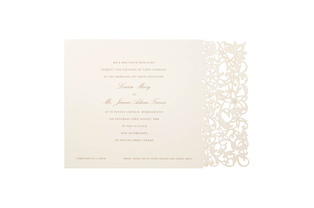 Chartula | Petite Fleurie Laser Cut Invitation | Natural #LuxuryWedding #LaserCutInvitation #ElegantInvites | www.chartula.co.uk