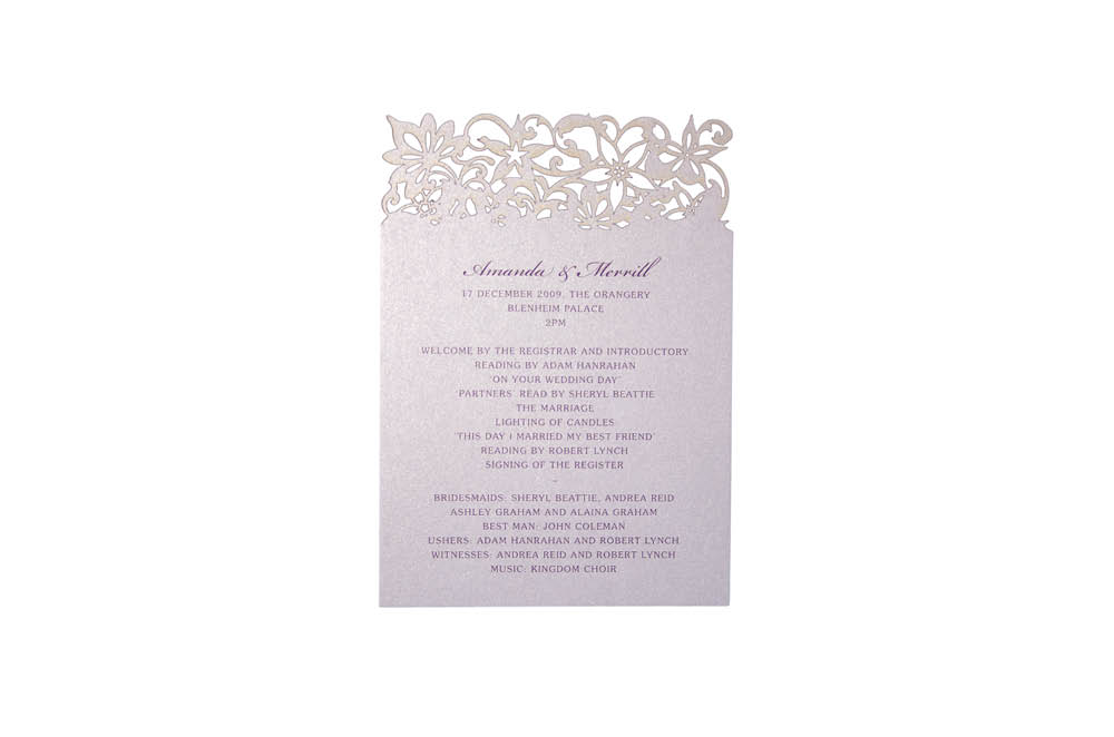 Chartula | Petite Fleurie Laser Cut Order of the Day | Lavendula #LuxuryWedding #LaserCutStationery #LilacWedding | www.chartula.co.uk