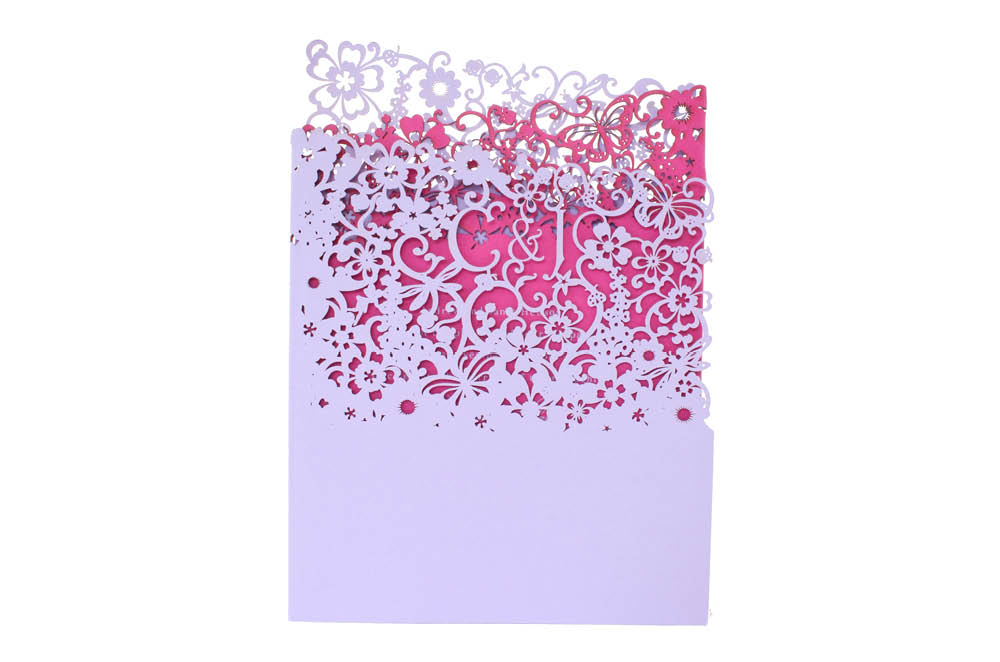 Chartula | Beau Jardin Bespoke Laser Cut Invitation | Lavender & Fuchsia Pink #LuxuryWedding #FairytaleWedding #WhimsicalInvites #LaserCutInvitation | www.chartula.co.uk