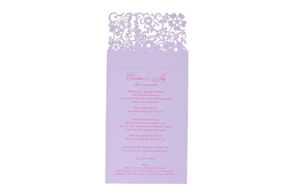 Chartula | Beau Jardin Bespoke Laser Cut Menu Place Card | Lavender #FairytaleWedding #WhimsicalWedding #LaserCutMenu | www.chartula.co.uk