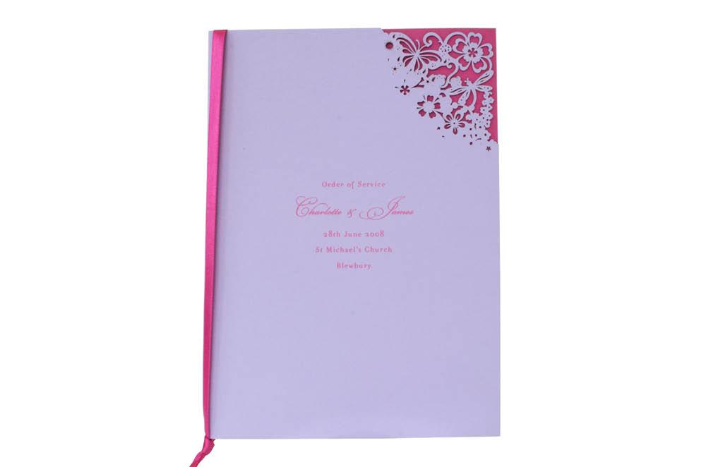 Chartula | Beau Jardin Bespoke Laser Cut Order of Service | Lavender & Fuchsia Pink #FairytaleWedding #CountrysideWedding #LaserCutStationery | www.chartula.co.uk