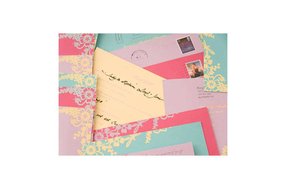 Chartula | Beau Jardin Bespoke Reply Postcards | Bright & Pastel #LuxuryWedding #FairytaleWedding #WhimsicalWedding | www.chartula.co.uk