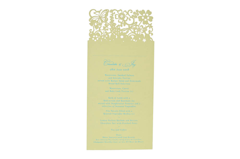 Chartula | Beau Jardin Bespoke Laser Cut Menu Place Card | Sorbet Yellow #FairytaleWedding #WhimsicalWedding #LaserCutMenu | www.chartula.co.uk