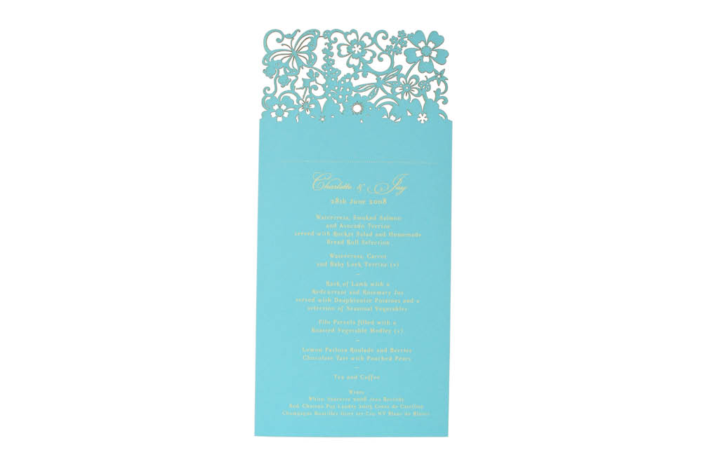 Chartula | Beau Jardin Bespoke Laser Cut Menu Place Card | Turquoise #FairytaleWedding #WhimsicalWedding #LaserCutMenu | www.chartula.co.uk