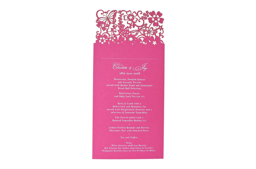 Chartula | Beau Jardin Bespoke Laser Cut Menu Place Card | Fuchsia Pink #FairytaleWedding #WhimsicalWedding #LaserCutMenu | www.chartula.co.uk