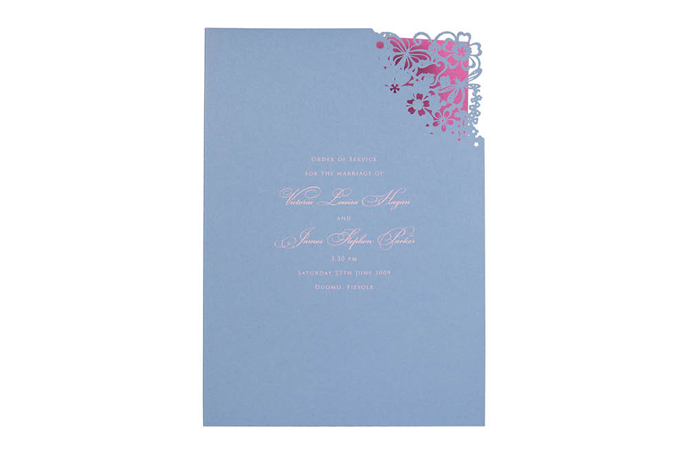 Chartula | Beau Jardin Bespoke Laser Order of Service | Cornflower Blue & Fuchsia Pink #LuxuryWedding #FairytaleWedding #LaserCutStationery| www.chartula.co.uk