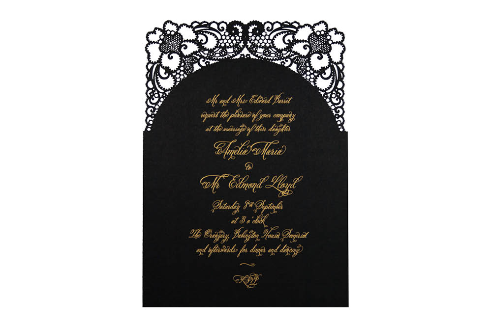 Chartula | A Little Lace Laser Cut Invitation | Ebony #LaceInvitation #LaserCutInvitation #BlackandGoldInvites | www.chartula.co.uk
