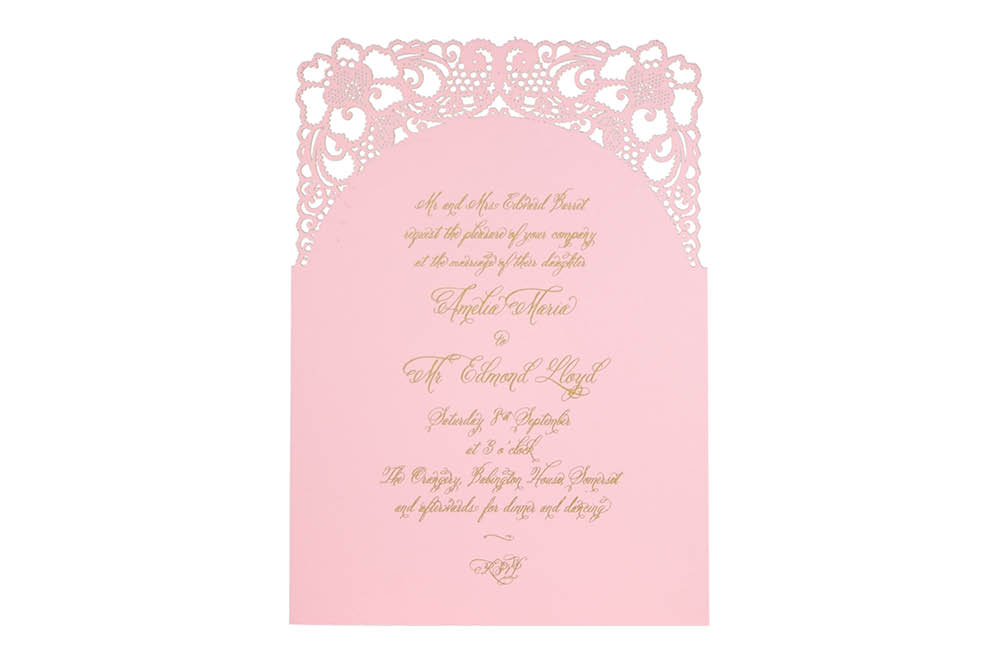 Chartula | A Little Lace Laser Cut Invitation | Candy Pink #LaceInvitation #BohoWedding #VintageWedding #LaserCutInvitation | www.chartula.co.uk
