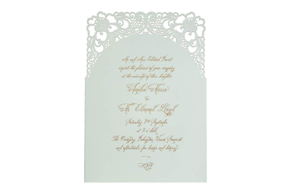 Chartula | A Little Lace Laser Cut Invitation | Eau de Nil #LaceInvitation #BohoWedding #VintageWedding #LaserCutInvitation | www.chartula.co.uk