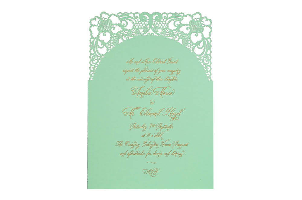 Chartula | A Little Lace Laser Cut Invitation | Mint Green #LaceInvitation #BohoWedding #VintageWedding #LaserCutInvitation | www.chartula.co.uk