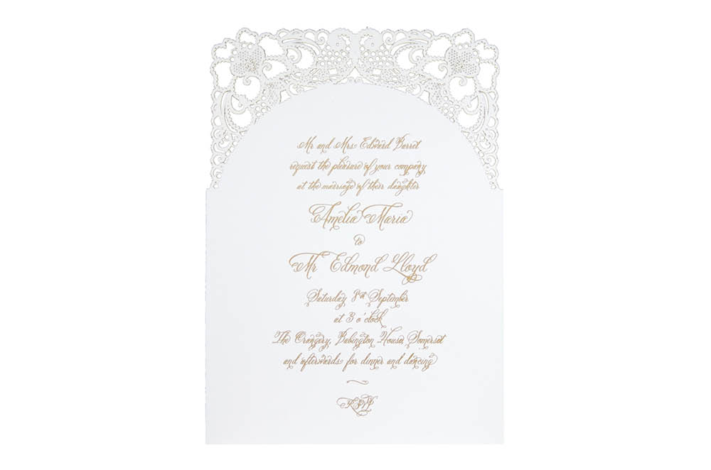 Chartula | A Little Lace Laser Cut Invitation | Pristine White #LaceInvitation #BohoWedding #VintageWedding #LaserCutInvitation | www.chartula.co.uk