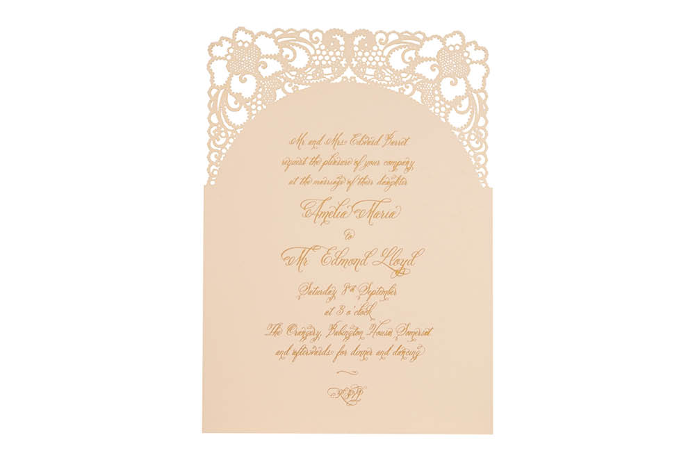 Chartula | A Little Lace Laser Cut Invitation | Vintage Peach #LaceInvitation #BohoWedding #VintageWedding #LaserCutInvitation | www.chartula.co.uk