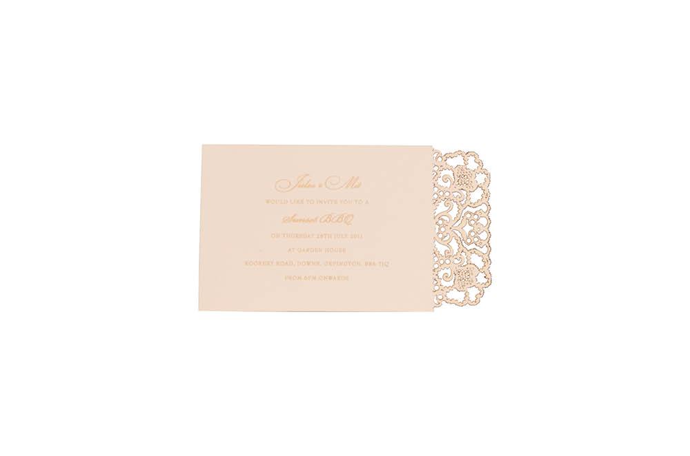 Chartula | Lace Orné Bespoke Laser Cut Invitation | Vintage Peach #LaceInvitation #BohoWedding #VintageWedding #LaserCutInvitation | www.chartula.co.uk