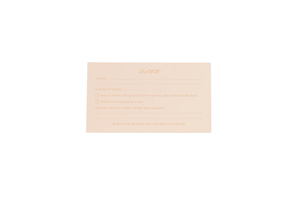 Chartula | Lace Orné Bespoke Reply Card | Vintage Peach #BespokeStationery | www.chartula.co.uk