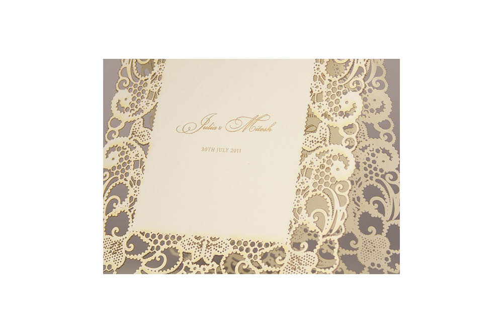 Chartula | Lace Orné Bespoke Laser Cut Invitation | Natural #LaceInvitation #BohoWedding #VintageWedding #LaserCutInvitation | www.chartula.co.uk