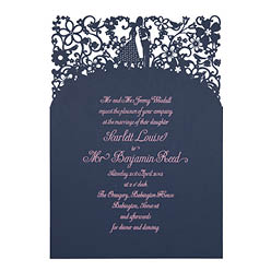 View romantic wedding invitations and information for Chartula A Little Romance French Navy.