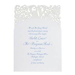 View romantic wedding invitations and Pristine White.