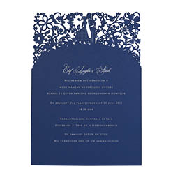 View romantic wedding invitations and information for Chartula A Little Romance Sapphire Blue.