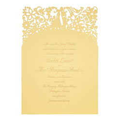 View romantic wedding invitations and information for Chartula A Little Romance Sorbet Yellow.