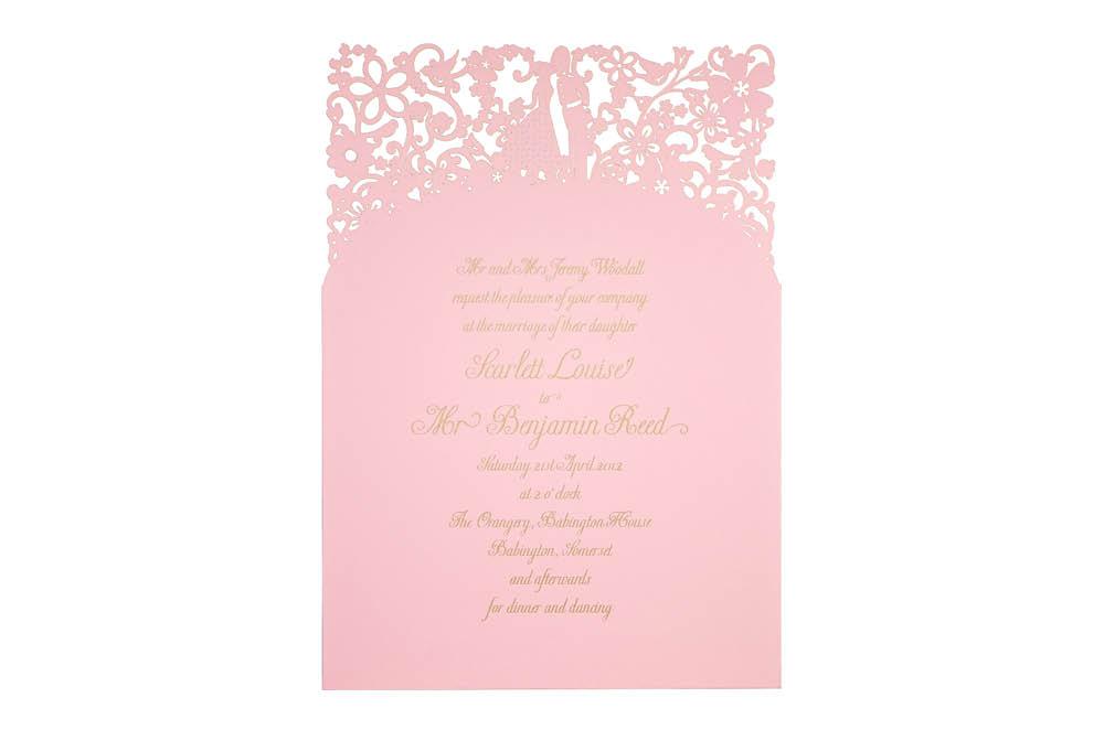 Chartula | A Little Romance Laser Cut Invitation | Candy Pink #LuxuryWedding #LaserCutInvitation  #PinkInvites | www.chartula.co.uk