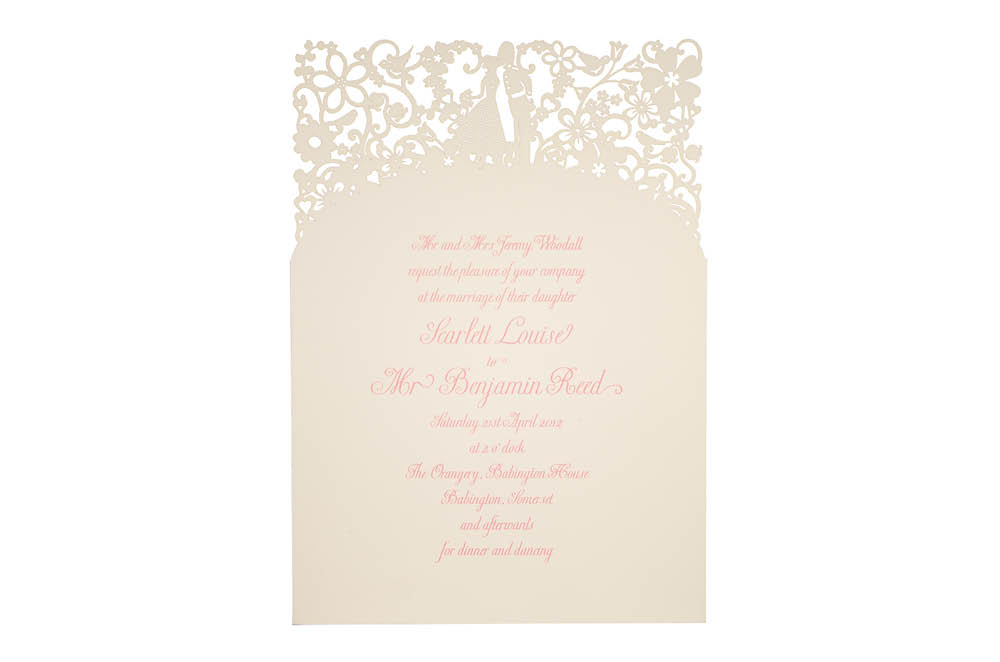 Chartula | A Little Romance Laser Cut Invitation | Natural #LuxuryWedding #LaserCutInvitation | www.chartula.co.uk