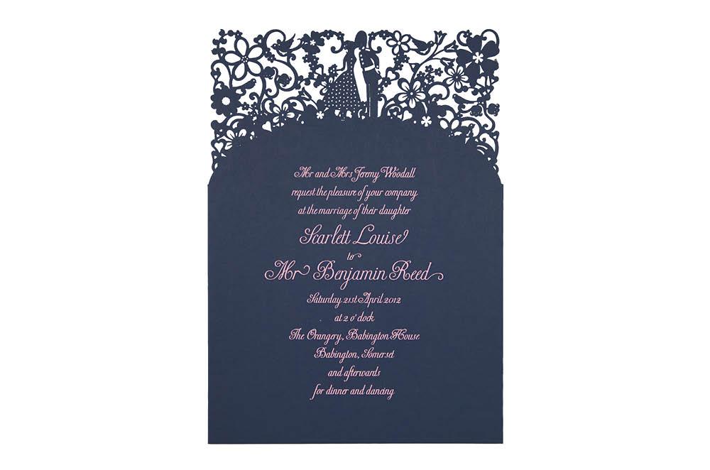 Chartula | A Little Romance Laser Cut Invitation | French Navy #LuxuryWedding #LaserCutInvitation | www.chartula.co.uk