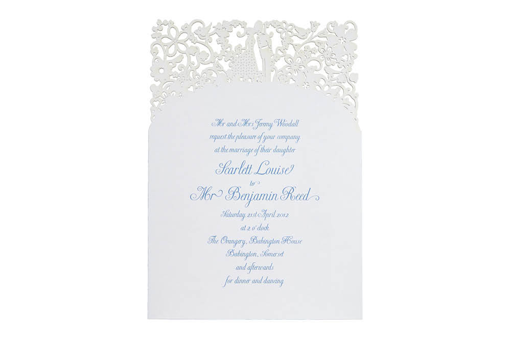 Chartula | A Little Romance Laser Cut Invitation | Pristine White #LuxuryWedding #LaserCutInvitation #WhiteWedding | www.chartula.co.uk