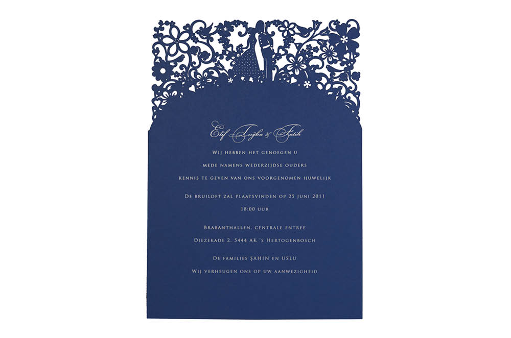 Chartula | A Little Romance Laser Cut Invitation | Sapphire Blue #LuxuryWedding #LaserCutInvitation #RegalInvites | www.chartula.co.uk