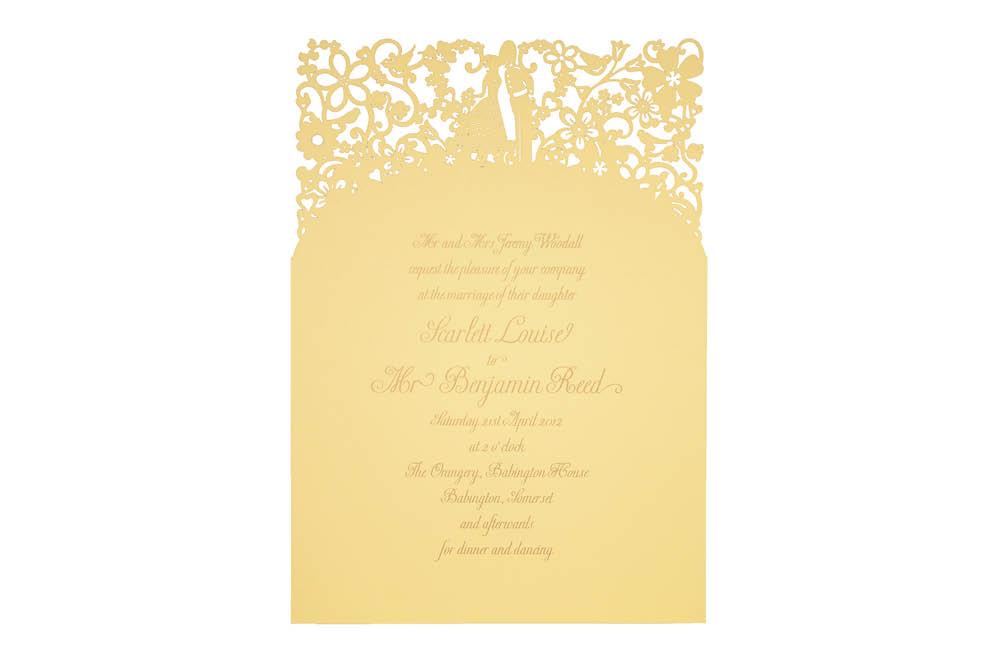 Chartula | A Little Romance Laser Cut Invitation | Sorbet Yellow #LuxuryWedding #LaserCutInvitation #YellowInvites | www.chartula.co.uk