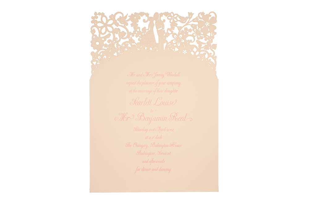 Chartula | A Little Romance Laser Cut Invitation | Vintage Peach #LuxuryWedding #LaserCutInvitation #PeachInvites | www.chartula.co.uk