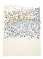 View winter wedding invitations and laser cut wedding stationery in Chartula Snowflake Natural Bluebell.