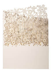 View winter wedding invitations and information for Chartula Snowflake Natural.
