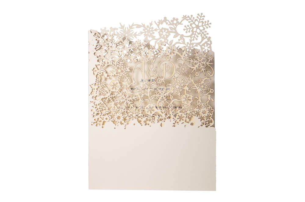 Chartula | Snowflake Bespoke Laser Cut Invitation | Natural #LuxuryWedding #WinterWedding #ChristmasWedding #Snowflakes | www.chartula.co.uk