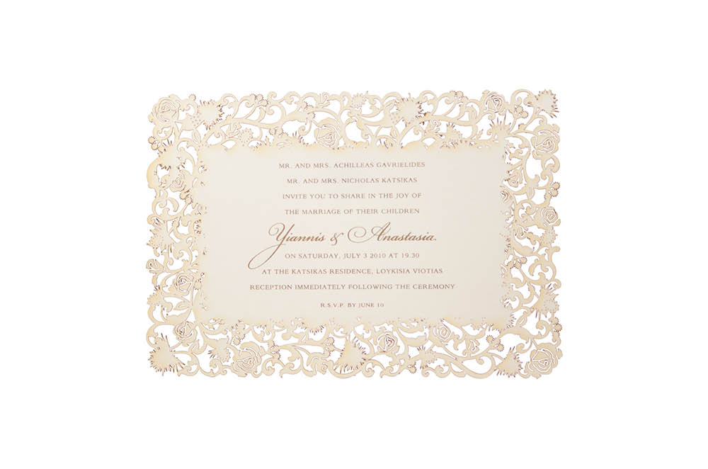 Chartula | Thistle & Rose Orné Bespoke Laser Cut Invitation | Natural #LuxuryWedding #LaserCutInvitations #ScottishEnglishWedding | www.chartula.co.uk