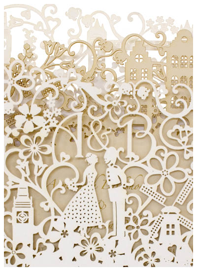 View custom laser cut wedding invitations, bespoke wedding stationery and information for Chartula Little City Tales.