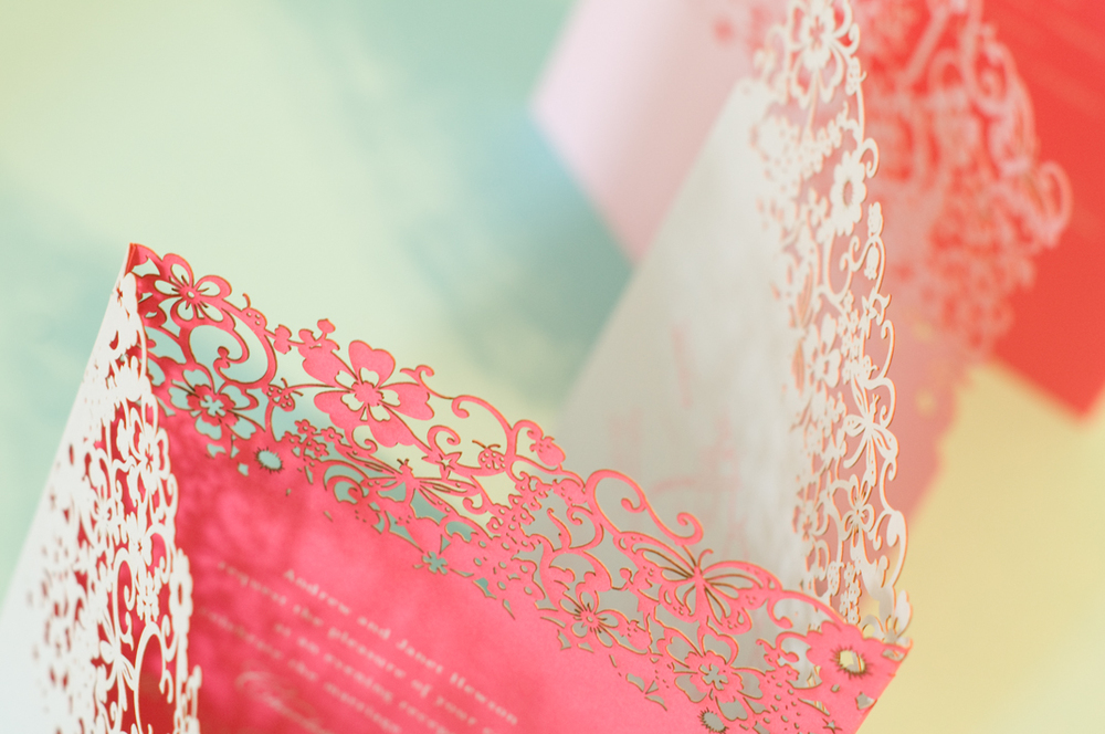 Chartula | Beau Jardin Bespoke Laser Cut Invitation | Bluebell Cream & Fuchsia Pink #FairytaleWedding #WhimsicalInvites #LaserCutInvitation | www.chartula.co.uk