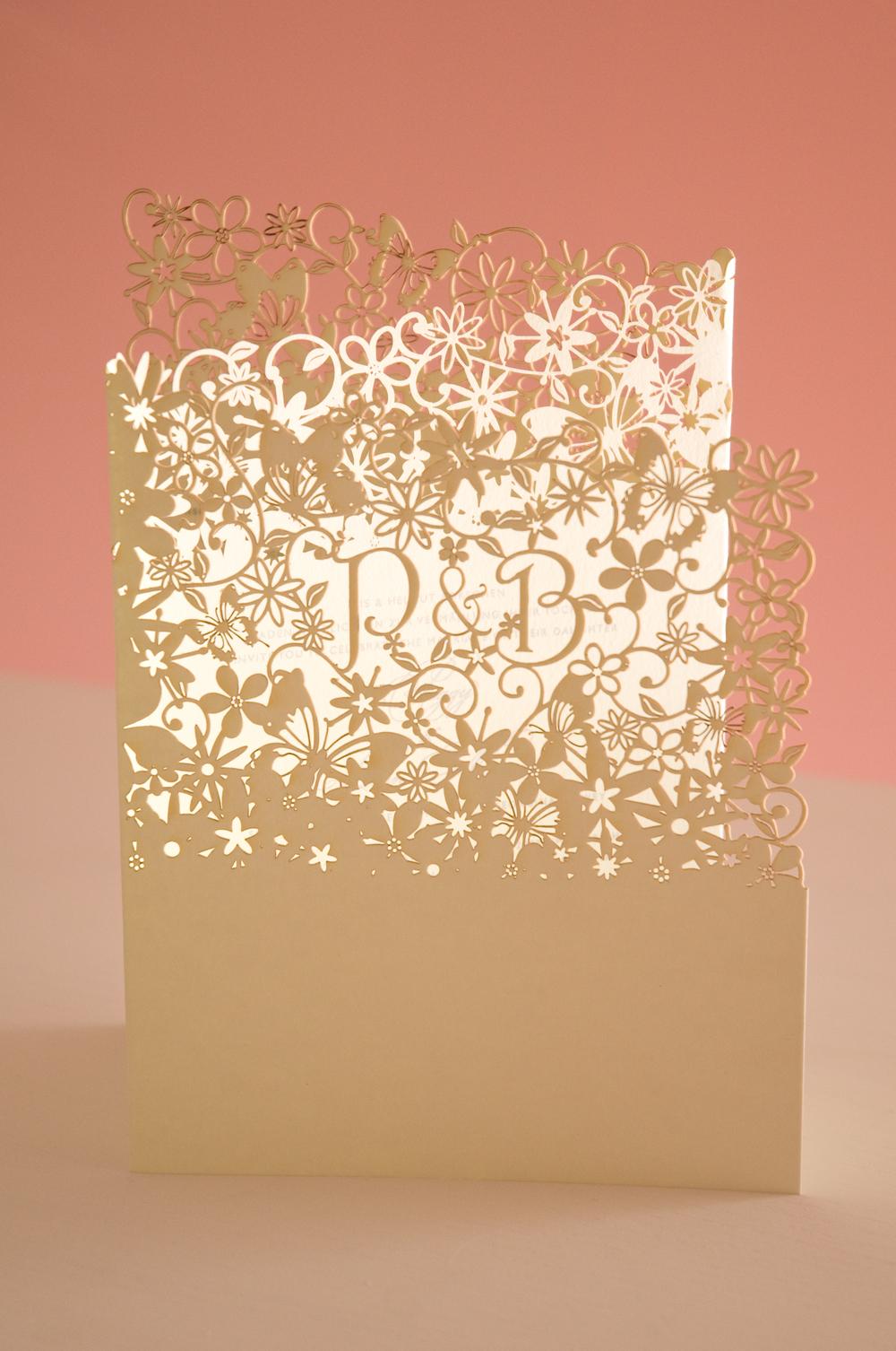 Chartula | Fairytale Bespoke Laser Cut Invitation | Natural & Pistachio #LuxuryWedding #LaserCutInvitations #FairytaleWedding | www.chartula.co.uk