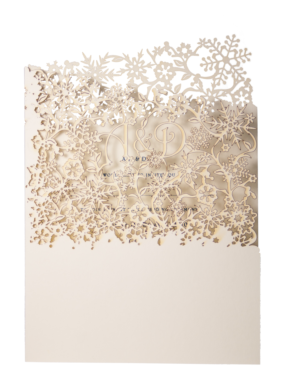 Chartula — Snowflake Laser Cut Invitation for a Frosty Winter Wedding