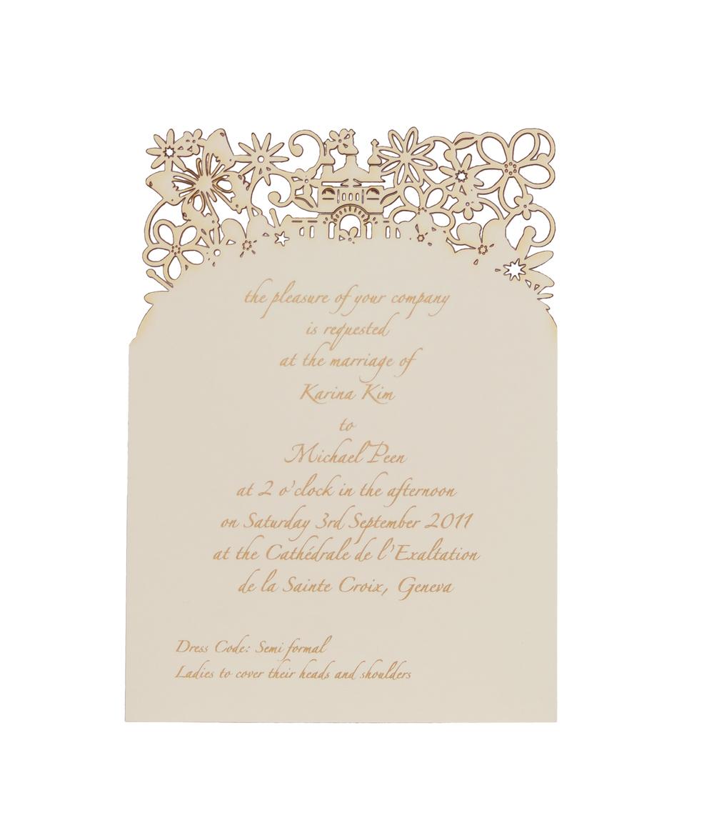 Chartula | Fairytale Bespoke Laser Cut Ceremony Invitation | Natural #LuxuryWedding #BespokeInvitations #LaserCutInvitations #FairytaleWedding #PrincessBride | www.chartula.co.uk